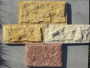 Piaskowiec elewacyjny - płytka łupana formatowana biało-żółta, żółta i miedziana