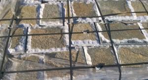 Płyty marmurowe cięto-łupane biało-zielone