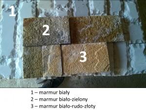 Płyty marmurowe - porównanie kolorów